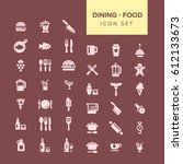 dining and food icon set   | Shutterstock .eps vector #612133673