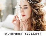 portrait of beautiful bride... | Shutterstock . vector #612133967