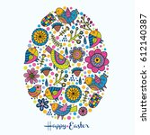 happy easter. cute postcard....   Shutterstock .eps vector #612140387