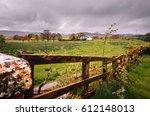 scottish landscape. fence ... | Shutterstock . vector #612148013