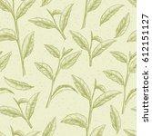 green tea. vector seamless... | Shutterstock .eps vector #612151127