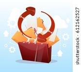 open briefcase paper document... | Shutterstock .eps vector #612162527