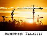 crane and building construction ... | Shutterstock . vector #612163313