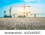 crane and building construction ... | Shutterstock . vector #612163337