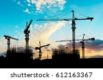 crane and building construction ... | Shutterstock . vector #612163367