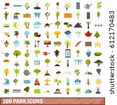 100 park icons set in flat... | Shutterstock .eps vector #612170483