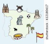 spain landmarks map   cute... | Shutterstock .eps vector #612180617