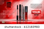 cosmetic set ads template ... | Shutterstock .eps vector #612183983