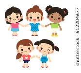 vector set of cute girl student ... | Shutterstock .eps vector #612204677