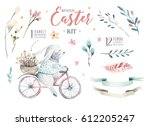 hand drawing easter watercolor... | Shutterstock . vector #612205247