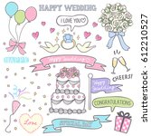 wedding party material... | Shutterstock .eps vector #612210527