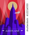 skyscraper and airplane poster... | Shutterstock .eps vector #612216533
