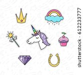 trendy sticker pack with... | Shutterstock .eps vector #612233777