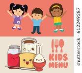 kids menu diet meal healthy | Shutterstock .eps vector #612249287