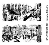 urban sketches of the streets... | Shutterstock .eps vector #612258197