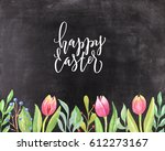 chalkboard background with hand ... | Shutterstock . vector #612273167