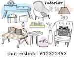interior design furniture set | Shutterstock .eps vector #612322493