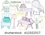 colored interior design... | Shutterstock .eps vector #612322517