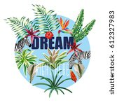 slogan dream right here on the... | Shutterstock .eps vector #612327983