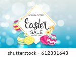 happy easter spring holiday... | Shutterstock .eps vector #612331643
