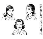 set woman portrait beauty black ... | Shutterstock .eps vector #612334223