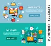 two horizontal ecommerce banner ... | Shutterstock .eps vector #612336863