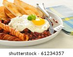 Fried Egg With Bacon  Toast An...