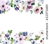 watercolor floral border for... | Shutterstock . vector #612372683