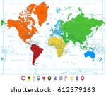world map with colorful... | Shutterstock .eps vector #612379163