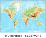 blank physical world map and... | Shutterstock .eps vector #612379343