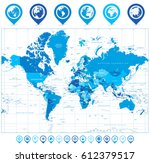 world map in colors of blue and ... | Shutterstock .eps vector #612379517