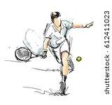 colored hand sketch tennis... | Shutterstock .eps vector #612411023