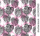 seamless pattern with leaves of ... | Shutterstock .eps vector #612431963