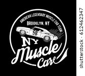 vintage muscle car old grunge... | Shutterstock .eps vector #612462347