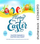 template easter eggs poster | Shutterstock .eps vector #612464393