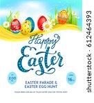 template easter eggs poster | Shutterstock .eps vector #612464393
