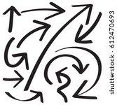 hand drawn arrows in black.... | Shutterstock .eps vector #612470693