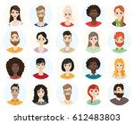 set of diverse round avatars... | Shutterstock .eps vector #612483803