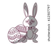 figure rabbit easter with bow...   Shutterstock .eps vector #612507797