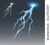 lightning and thunder bolt ... | Shutterstock .eps vector #612552347