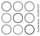 vector set of round rope frame. ... | Shutterstock .eps vector #612567317