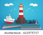 pop up book with lighthouse on... | Shutterstock . vector #612575717