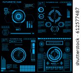 futuristic blue virtual graphic ... | Shutterstock .eps vector #612577487