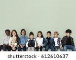 happy diverse group of kids... | Shutterstock . vector #612610637