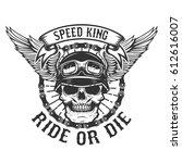 racer skull with wings. biker... | Shutterstock .eps vector #612616007