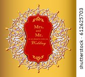 wedding invitation or card with ... | Shutterstock .eps vector #612625703