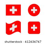 set 4 flags of switzerland | Shutterstock .eps vector #612636767