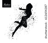 silhouette of the fashionable... | Shutterstock .eps vector #612654287