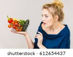adult woman do not like to eat... | Shutterstock . vector #612654437
