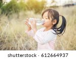 little girl in pigtails... | Shutterstock . vector #612664937